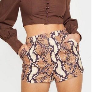 ZARA • Brown Snake Print Shorts • Size M
